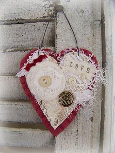 Handmade Valentine Vintage Valentine Ornament
