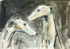 Two sighthounds, mixed media on board, 50 x 70 cm by Claudia Gaede Greyhound Art, Italian Greyhound, Whippet Dog, Lurcher, Grey Hound Dog, Dogs Of The World, Dog Photos, Dog Art, Beautiful Dogs
