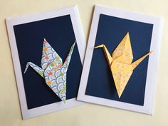 Set of 10 handmade origami crane cards for any occasion: - different patterns - blank inside for your own message Contact seller for variations in paper or design Origami Cards, Origami Paper, Japanese Crane, Paper Cranes, Different Patterns, Messages, Decorating, Handmade, Diy