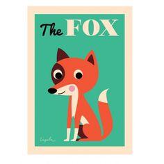 <p>Grande affiche d'un renard The fox, fond vert menthe, illustration Ingela P. Arrhenius, éditée par OMM Design. Pour égayer les murs de votre maison . On aime son dessin graphique et coloré et son regard rusé !</p> <p><em>réassort prévu fin février 2015 !</em></p>