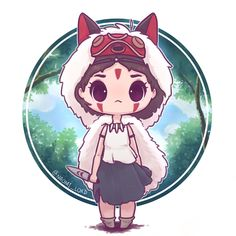 ✨Princess Mononoke (San)✨ I've been rewatching a bunch of Ghibli movies and realised I don't think I've ever drawn anything from princess… Anime Chibi, Kawaii Chibi, Cute Chibi, Kawaii Art, Anime Art, Cute Animal Drawings, Kawaii Drawings, Cute Drawings, Desu Desu