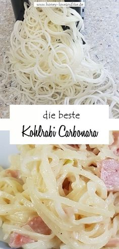 How about low carb carbonara made from kohlrabi noodles?- Today there is a low carb carbonara made from kohlrabi noodles for you. I swear it's so tasty, you have to try it! You will not miss normal pasta! Lunch Snacks, Lunch Recipes, Meat Recipes, Low Carb Recipes, Vegetarian Recipes, Healthy Recipes, Lassi Recipes, Smoothie Recipes, Chou Rave