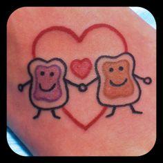 Peanut butter & jelly tattoo.