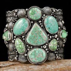 Darryl Becenti Gem CARICO LAKE Turquoise Bracelet Sterling Silver Navajo