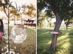Outdoor wedding aisle lantern; rustic hand-painted directional sign :)