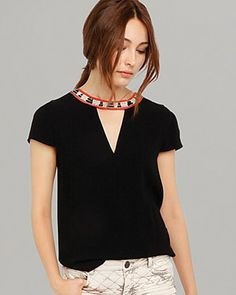 Maje Tee - Fraiche Woven Neck | Bloomingdale's