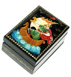 Sadko Miniature Palekh Lacquer Box #lacquerbox #babushka #stackingdoll #Woodendolls #nestingdoll #nestingdolls #Russianbox #Russiandoll #dollindoll #babooshkadoll #matryoshka #Russiantoy #nesteddoll #Russiangifts Unique Gifts For Kids, Russian Folk, Wooden Dolls, Box Art, Hello Everyone, Decorative Boxes, Miniatures, Hand Painted, Handmade
