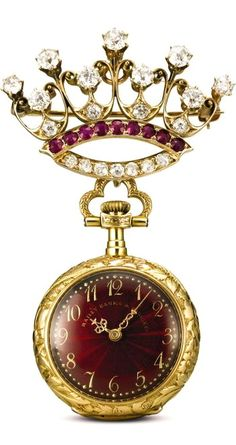 BAILEY BANKS AND BIDDLE & CO. A FINE ART NOUVEAU YELLOW GOLD, ENAMEL, RUBY AND DIAMOND-SET OPEN-FACED KEYLESS WATCH WITH BROOCH CIRCA 1905