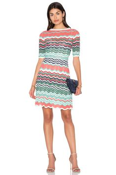 M MISSONI Fit & Flare Zig Zag Mini Dress. #mmissoni #cloth #dress #top #shirt #pant #coat #jecket #jacket #shorts #ski
