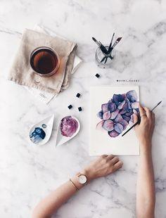 watercolor flower hydrangea tutorial
