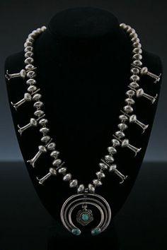 Squash Blossom Necklaces - Navajo Silver and Turquoise Squash Blossom Necklace