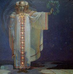 """Vitezslav Karel Masek (1865-1927) """"The Prophetess Libuse"""" // Libuše is a legendary ancestor of the Přemyslid dynasty and the Czech people as a whole. According to legend, she was the youngest but wisest of three sisters, who became queen after their father died; she married a ploughman, Přemysl with whom she founded the Přemyslid dynasty, and prophesied and founded the city of Prague in the 8th century."""