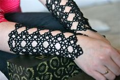 Large Scalloped Cuffs in Black Pair by SnapdragonLace on Etsy, $180.00