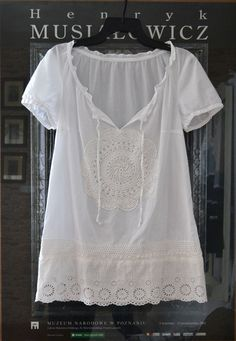 White Cotton Tunic with lace, summer tunic, Upcycled clothing, , cottage style, shabby chic........very Saturday in the Park...................................