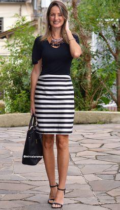 Look de trabalho - look do dia - look corporativo - moda no trabalho - work outfit - office outfit -  spring outfit - look executiva - look de verão  - summer outfit - saia lápis listra - black and white - preto e branco -