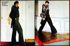History: Haute Couture - Yves St. Laurent's menswear look.  1973-74 - Yves Saint Laurent collection by Helmut Newton in Elle 1973