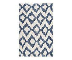 Alfombra de lana tejida a mano POL, azul y blanco – 91x60