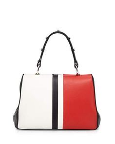 1e85478d254d V2WH4 Prada Baiadera Arcade-Stripe Leather Satchel Bag
