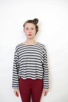 Vintage blouse / 90s oversized gray striped crop shirt / by nemres