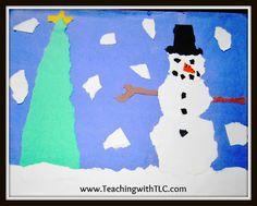 Torn-paper winter art project