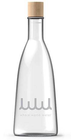 campaign design Whole World Water - Bottle Design by fuseproject Water Packaging, Glass Packaging, Packaging Design, Alcohol Bottles, Liquor Bottles, Glass Bottles, Agua Mineral, Mineral Water, Water Bottle Design