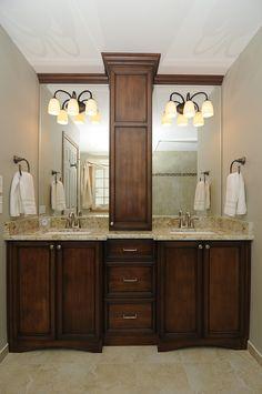 Bathroom Vanities Chicago extra long bathroom vanity with builtin makeup station/bench