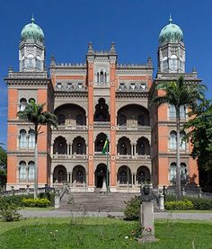 Façade of the Neo-Mouresque Palace of Manguinhos, seat of the Instituto Oswaldo Cruz in Rio de Janeiro. - Estilo Mourisco - FioCruz Instituto Oswaldo Cruz Rio de Janeiro