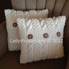 "I designed and hand knit this 16""x16"" cushion cover using rope cable and blackberry stitch patterns."