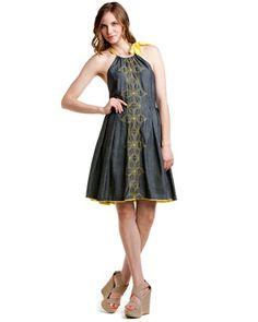 Eva Franco 'Ponder' Grey Anatomy Embroidered Denim Dress