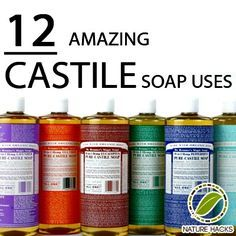 Castile Soap Uses When I was pregnant w/ my first, I was struck w an allergy to toothpastes. I used Dr Bronner's peppermint brand to brush my teeth. Homemade Cleaning Products, Natural Cleaning Products, Natural Products, Natural Soaps, Household Products, Beauty Products, Deep Cleaning Tips, Cleaning Hacks, Cleaning Recipes
