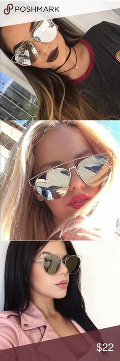 Eliana Silver Mirrored Chic Sunglasses New   Silver Mirrored Squared Retro Sunglasses   High quality frame  Does not include case   Bundle to save ✨  Follow & Tag:   Ig: Shopbellavictoria Fb: Bella Victoria Bella Victoria Boutique Accessories Glasses