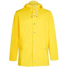 TOPMAN Rains Yellow Lightweight Rain Jacket ($100) ❤ liked on Polyvore featuring men's fashion, men's clothing, men's outerwear, men's jackets, yellow, mens light weight jackets, mens lightweight jacket and mens lightweight rain jacket
