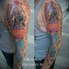 Tam kol yakuza dövmesi yapım aşamasında. Yakuza Sleeve tattoo in progress.Tattoobrothers dövme stüdyosu 0532 354 67 26 #Tattoobrothers #zaferfatihozsoy #tattoo #ink #tattoos #tattooartist #tattooed #tattoolife #traditional #tattooart #art #tatted #inked #sleeve #japanese #tattoosleeve #halfsleeve #sleevetattoo #inprogress #armtattoo #inkaddict #japanesetattoo #koi