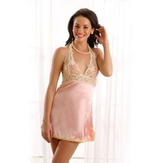Clovia Lacy Satin Night Slip In Peach