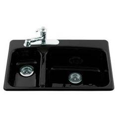 KOHLER Lakefield Self Rimming Cast Iron 33x22x10.25 3 Hole Kitchen Sink In