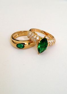 Vintage Sterling Silver Emerald and Pave Estate Jewelry Ring Set by WOWTHATSBEAUTIFUL