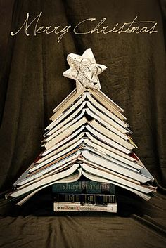 Christmas tree using old books...