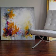 """Contemporary paintings by  Sharon W Huget (@sharonwhuget) on Instagram: """"Feeling the need for colour. """"Burst"""" mixed media 36"""" x 36"""" #yvrart #canadianpainter…"""" Canadian Painters, Barcelona Chair, Contemporary Paintings, Mixed Media, Lounge, Colour, Furniture, Instagram, Home Decor"""