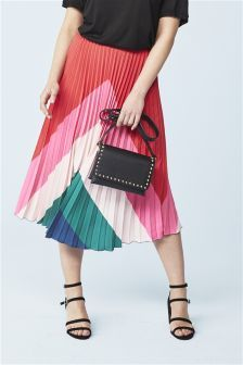 Red/Pink Pleated Skirt