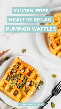 We love these healthy pumpkin waffles on lazy fall mornings topped with some coconut yoghurt, real maple syrup and a sprinkle of pumpkin seeds. Pumpkin Spice Muffins, Pumpkin Waffles, Pumpkin Puree, Vegan Pumpkin, Healthy Pumpkin, Pumpkin Recipes, Pumpkin Brownies, Almond Recipes, Brownie Recipes