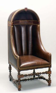RARE REGENCY MAHOGANY PORTER'S CHAIR 1830 English... upholstered with brown…