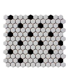 Shapes Hexagon Matt White Black 23x26mm Mosaic