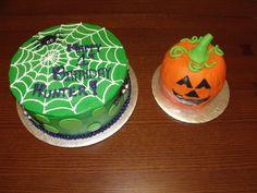 Halloween Birthday cake and pumpkin