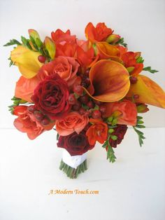 beautiful fall bouquet with calla lily