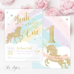 Unicorn 1st Birthday Invitation First Girls Invite Magical Party Stars Rainbows