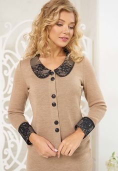 Classic skirt set suit fot women by Olesya Masyutina. Brown cacao suit consists of button-down jacket, pencil skirt, cuffs and collar are decorated French lace. 800 models of knitted and fabric women clothes in casual style, evening and wedding.