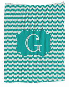 Teal Waves Monogram Blanket