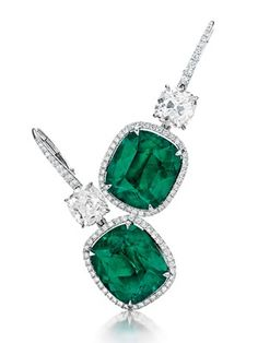 A Pair of Colombian Cushion-Cut Emerald and Diamond Ear Pendants 7.70 and 7.03cts.  Estimate: $400,000 – $600,000