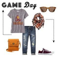 """""""Go ASU! #gameday"""" by thelindsaygoodwin on Polyvore featuring Hollister Co., Old Navy, Converse, BP. and ToyShades"""
