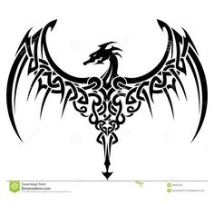 Celtic Dragon Tattoo Stock Illustration ❤ liked on Polyvore featuring accessories